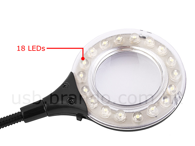 USB 18-LED Light with Magnifier