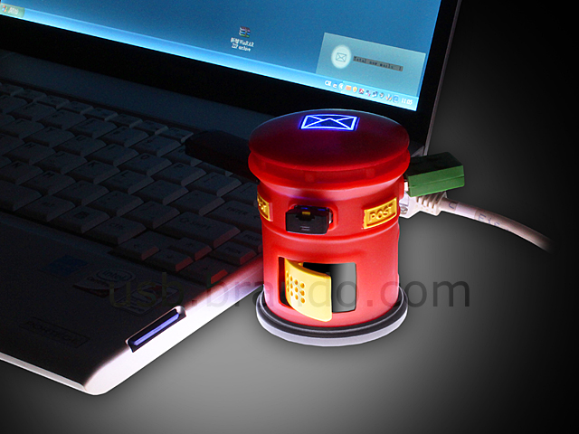 USB Post Box Webmail Notifier with 3-Port Hub