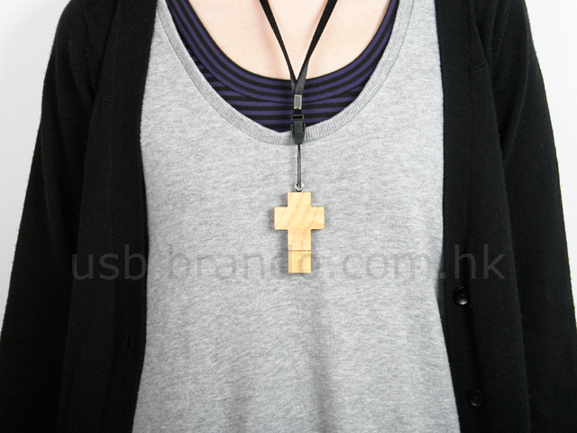 Wooden Cross USB Memory Strap