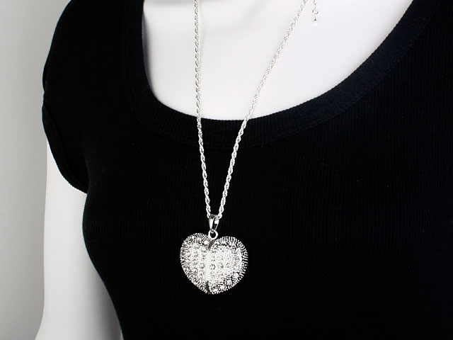 USB Jeweled Heart Necklace Flash Drive