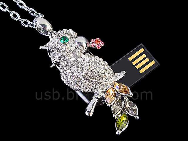 USB Jewel Parakeet Necklace Flash Drive