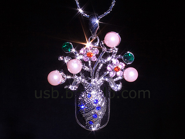 USB Jewel Flower Vase Necklace Flash Drive
