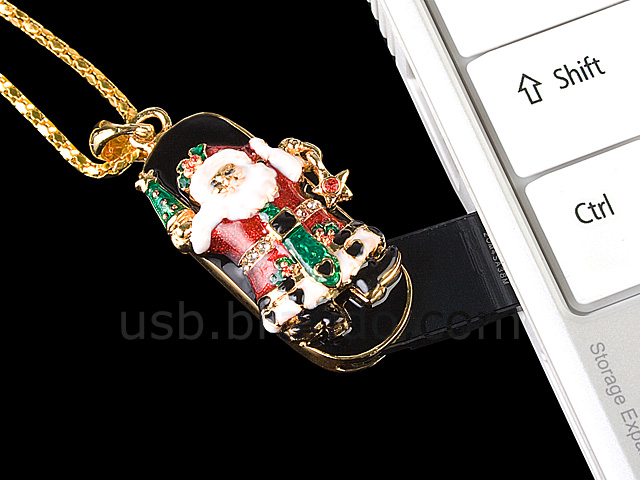 USB Jewel Santa Claus Nacklace Flash Drive