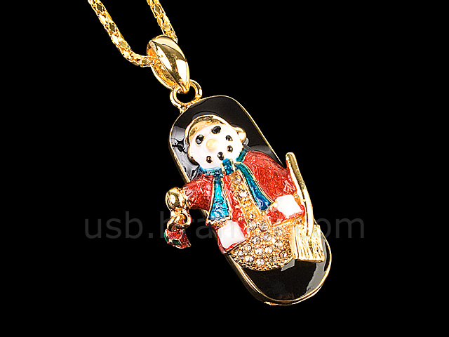 USB Jewel Snowman Necklace Flash Drive