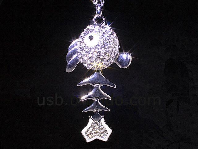 USB Jewel Fishbones Necklace Flash Drive