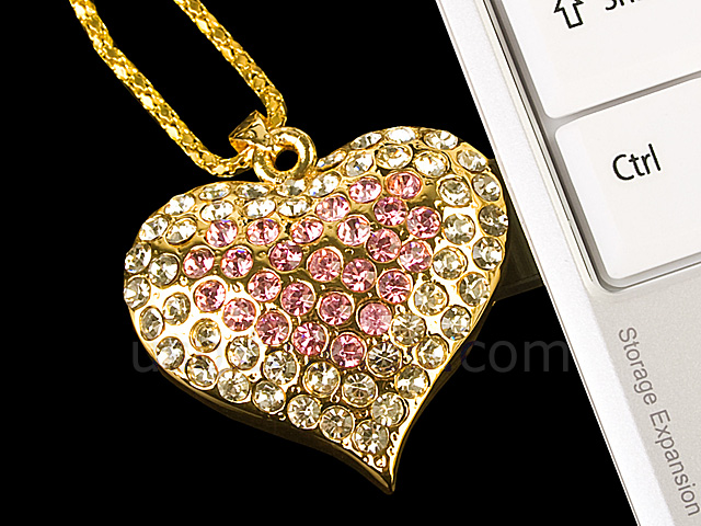USB Jewel Tasteful Heart Necklace Flash Drive