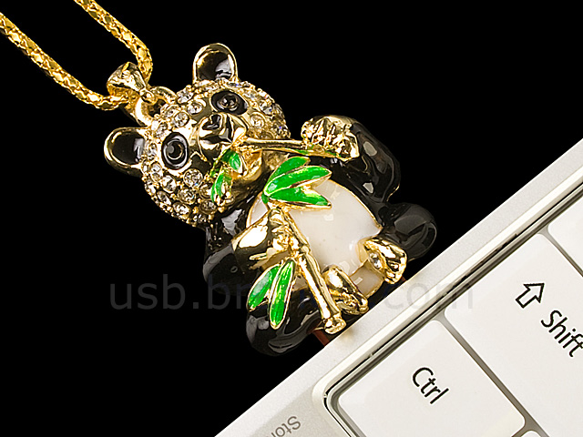 USB Jewel Panda with Bamboo Necklace Flash Drive