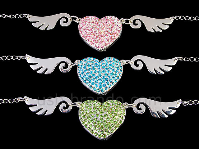 USB Jewel Flying Heart Necklace Flash Drive