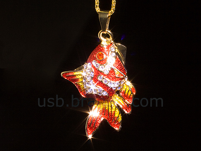 USB Jewel Gold Fish Necklace Flash Drive II