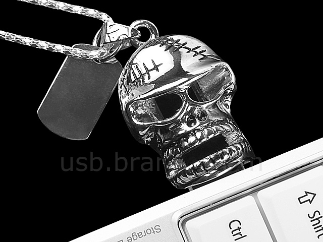 USB Skull Necklace Flash Drive