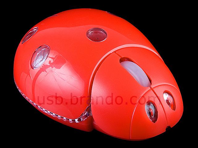 USB Ladybug Flashing Optical Mouse