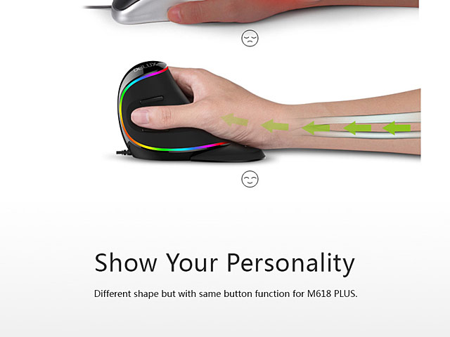 Delux M618 Plus USB Ergonomic Vertical Mouse (RGB Light Version)