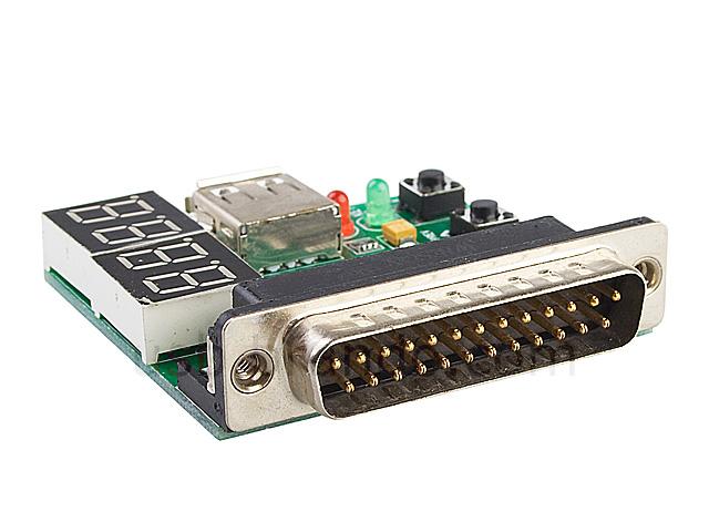 Computer Motherboard Debug Card Parallel Port 4 Digital Leds