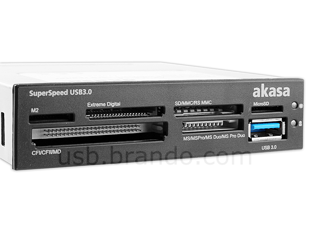 "Akasa USB 3.0 3.5"" Front Panel All-in-One Card Reader"
