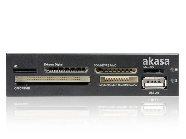 Akasa Usb 2 0 3 5 Quot Front Panel All In One Card Reader