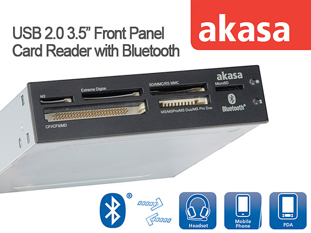 "Akasa USB 2.0 3.5"" Front Panel Card Reader with Bluetooth"