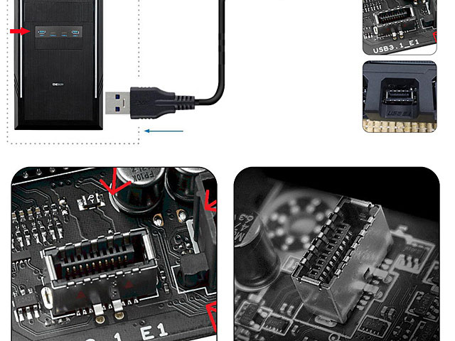 2-Port USB 3.0 Type-A + 2-Port USB 3.1 Type-C 3.5 Front Panel with USB 3.1 Front Panel Header Type-E