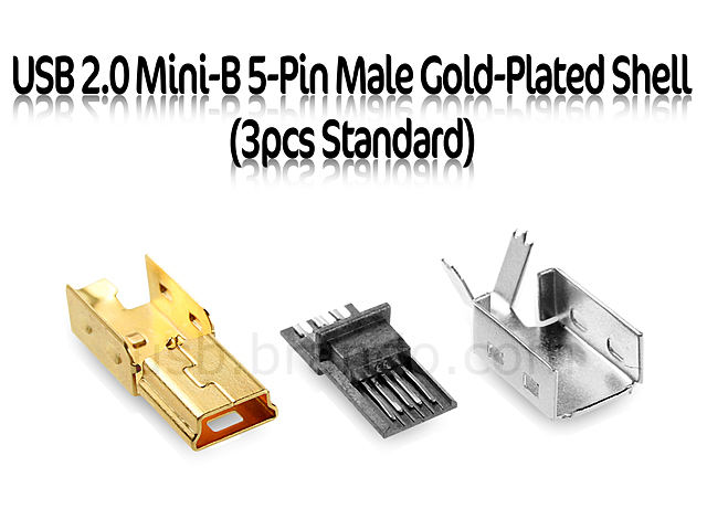 USB 2.0 Mini-B 5-Pin Male Gold-Plated Shell (3pcs Standard)