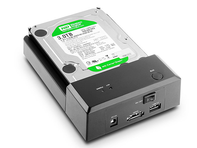 USB 3.0 SATA HDD Dock with One Touch Backup (USB + eSATA)